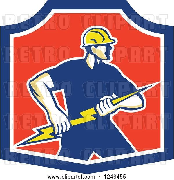Vector Clip Art of Retro Male Electrician Holding a Bolt in a Shield