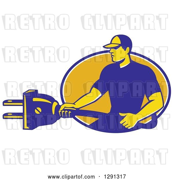 Vector Clip Art of Retro Male Electrician Holding a Giant Plug and Emerging from a Blue White and Yellow Oval