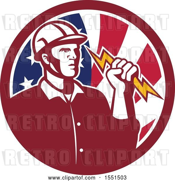Vector Clip Art of Retro Male Electrician Holding a Lightning Bolt in an American Flag Circle
