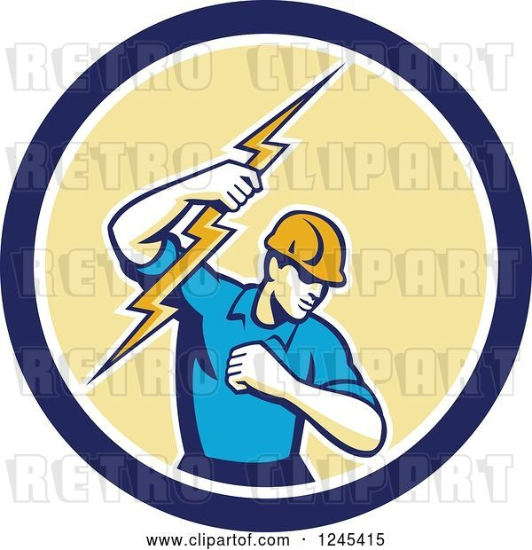 Vector Clip Art of Retro Male Electrician Holding up a Bolt in a Blue and Yellow Circle