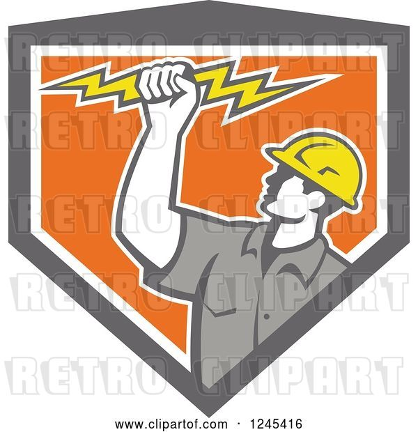 Vector Clip Art of Retro Male Electrician Holding up a Bolt in a Gray and Orang Shield