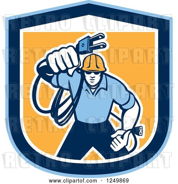 Vector Clip Art of Retro Male Electrician with a Cord in a Blue and Orange Shield