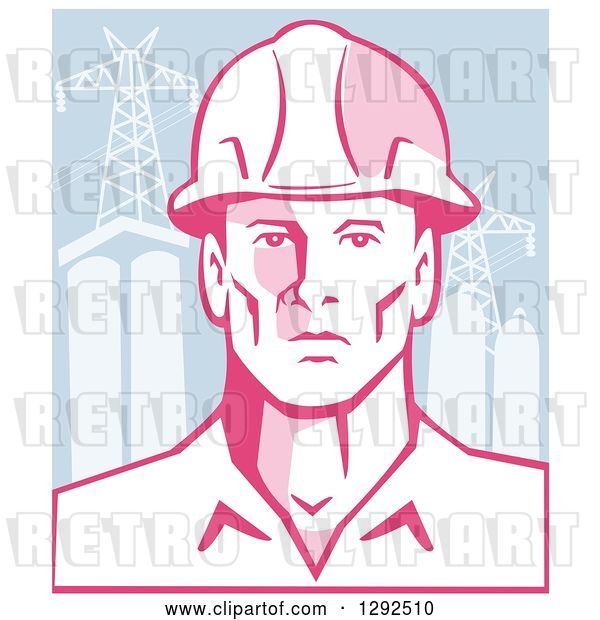 Vector Clip Art of Retro Male Engineer Wearing a Hardhat over Power Pylons and Buildings