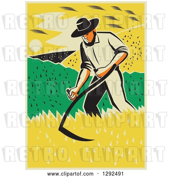 Vector Clip Art of Retro Male Famer Using a Scythe and Harvesting a Crop