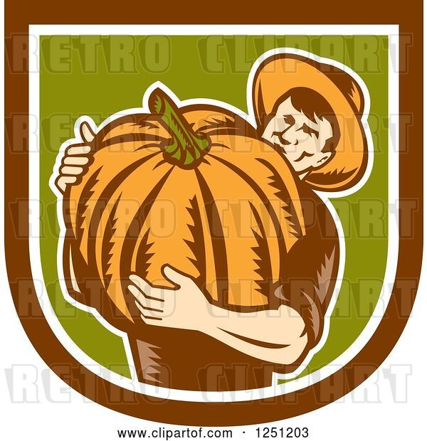 Vector Clip Art of Retro Male Farmer Carrying a Giant Pumpkin in a Brown White and Green Shield