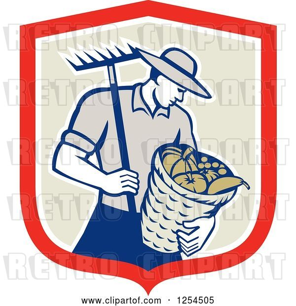 Vector Clip Art of Retro Male Farmer Carrying a Harvest Bushel Bucket and Rake in a Shield