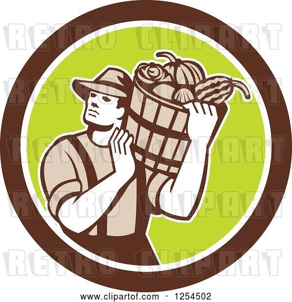 Vector Clip Art of Retro Male Farmer Carrying a Harvest Bushel Bucket in a Brown and Green Circle
