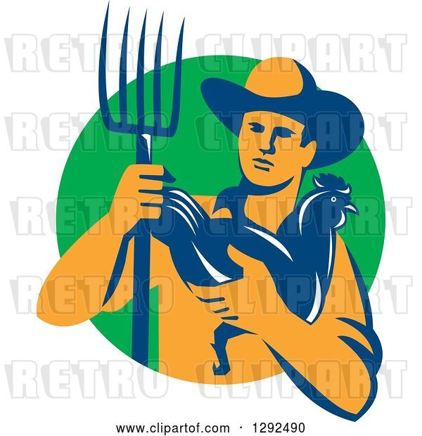 Vector Clip Art of Retro Male Farmer Holding a Hen and Pitchfork over a Green Circle