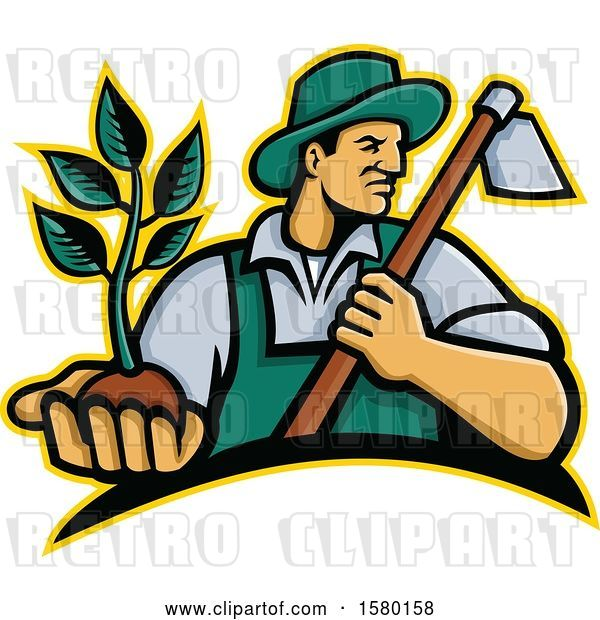 Vector Clip Art of Retro Male Farmer Holding a Hoe and Seedling Plant