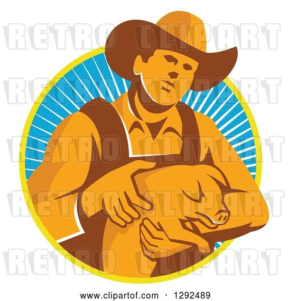 Vector Clip Art of Retro Male Farmer Holding a Piglet in a Yellow White and Blue Circle of Rays