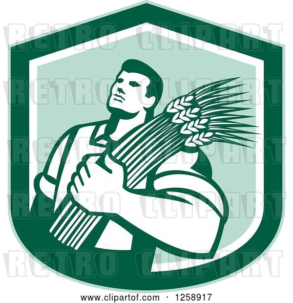 Vector Clip Art of Retro Male Farmer Holding Wheat in a Green Shield