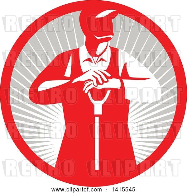 Vector Clip Art of Retro Male Farmer Leaning on a Shovel, Looking to the Side in a Red and Gray Sun Burst Circle