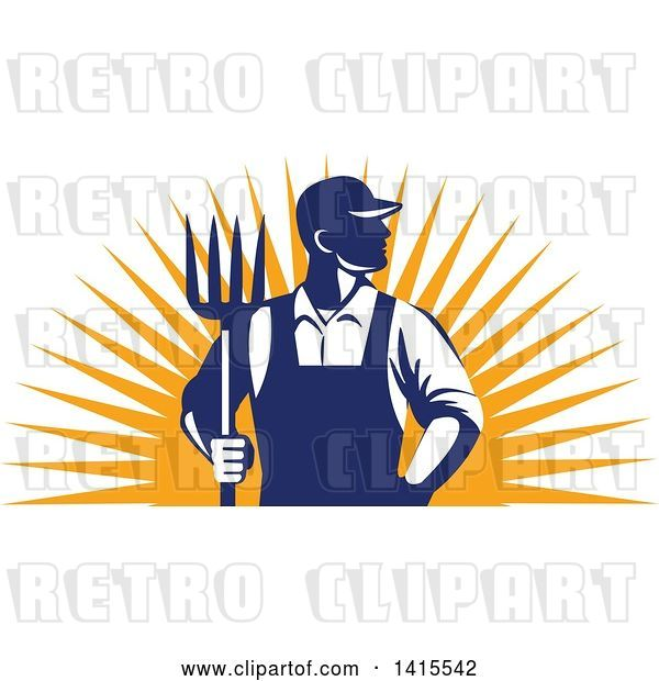 Vector Clip Art of Retro Male Farmer or Worker Standing with One Hand in His Pocket and One Hand Holding a Pitchfork over an Orange Sun Burst