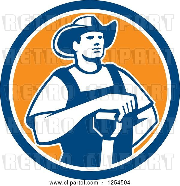 Vector Clip Art of Retro Male Farmer Resting an Arm on a Shovel in a Blue and Orange Circle