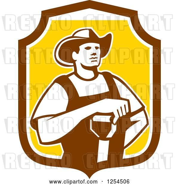 Vector Clip Art of Retro Male Farmer Resting an Arm on a Shovel in a Brown and Yellow Shield