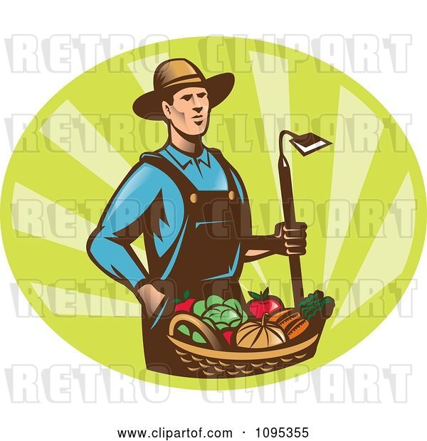 Vector Clip Art of Retro Male Farmer Standing with a Hoe and Bucket of Harvest Veggies over Green Rays