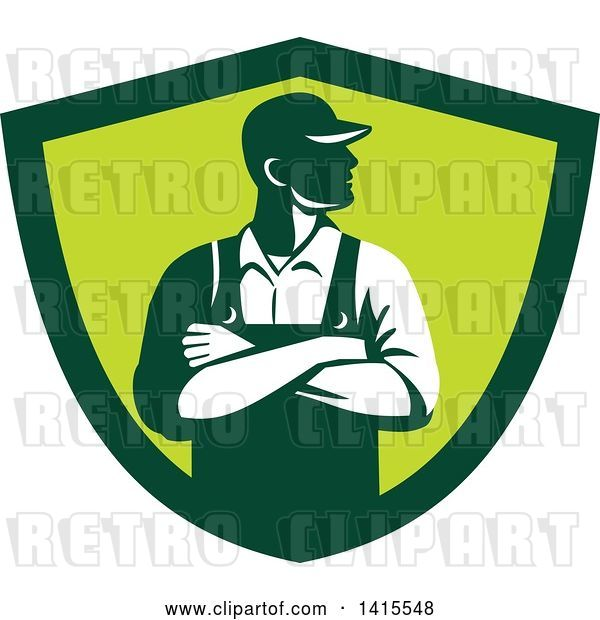 Vector Clip Art of Retro Male Farmer with Folded Arms, Looking to the Side in a Green Shield