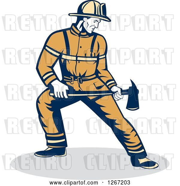 Vector Clip Art of Retro Male Firefighter Holding an Axe