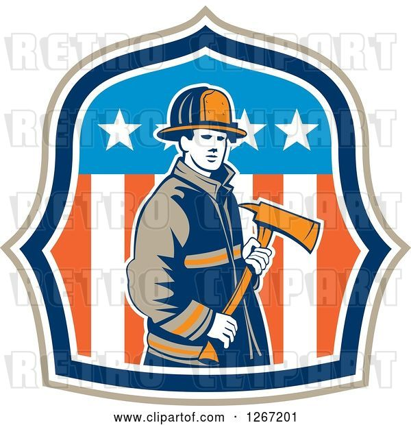 Vector Clip Art of Retro Male Firefighter Holding an Axe in an American Flag Shield