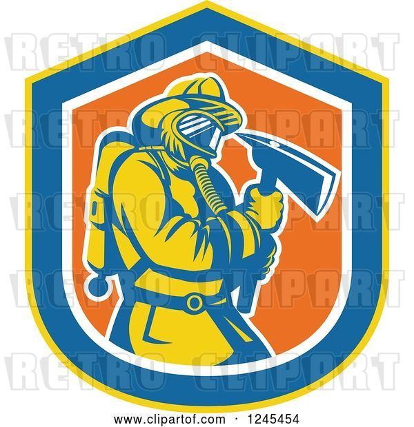 Vector Clip Art of Retro Male Firefighter with an Axe in a Shield
