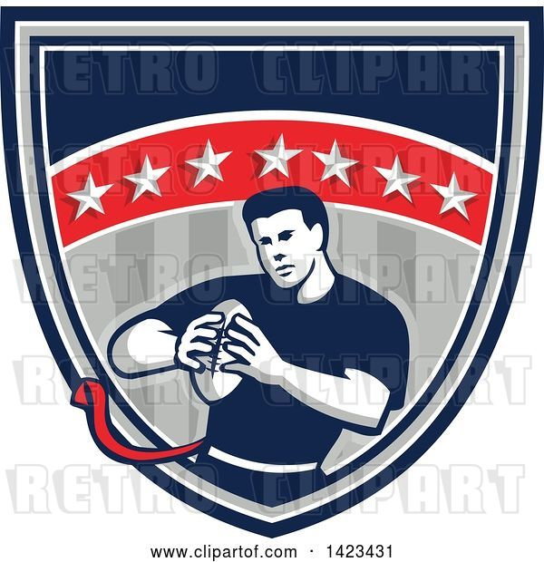 Vector Clip Art of Retro Male Flag Football Player in a Flag Shield
