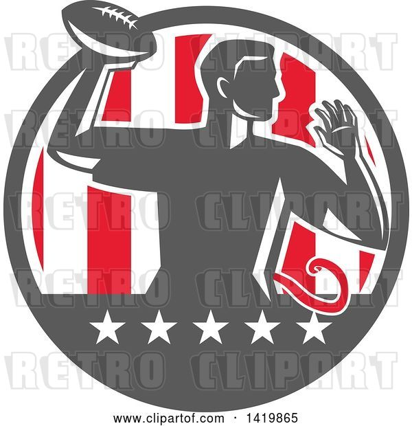 Vector Clip Art of Retro Male Flag Football Player Passing in a Flag Circle
