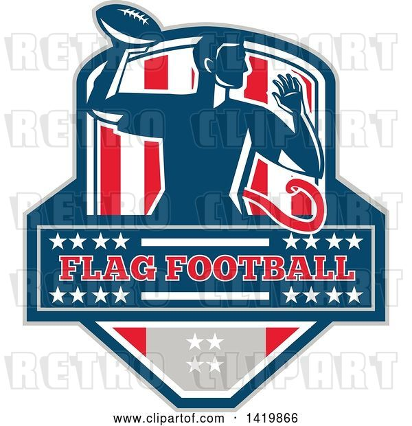 Vector Clip Art of Retro Male Flag Football Player Passing, over Text, in a Flag Crest