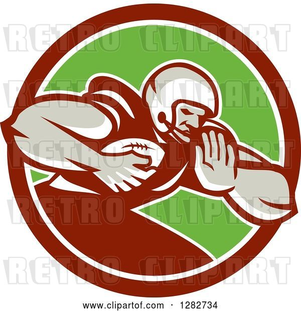 Vector Clip Art of Retro Male Football Player with a Ball in a Maroon White and Green Circle