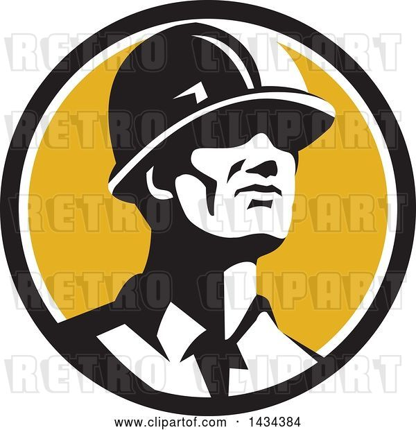 Vector Clip Art of Retro Male Foreman or Builder Wearing a Hardhat and Looking Forward in a Black White and Yellow Circle