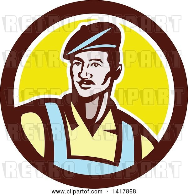 Vector Clip Art of Retro Male French Artist Wearing a Beret in a Brown White and Yellow Circle