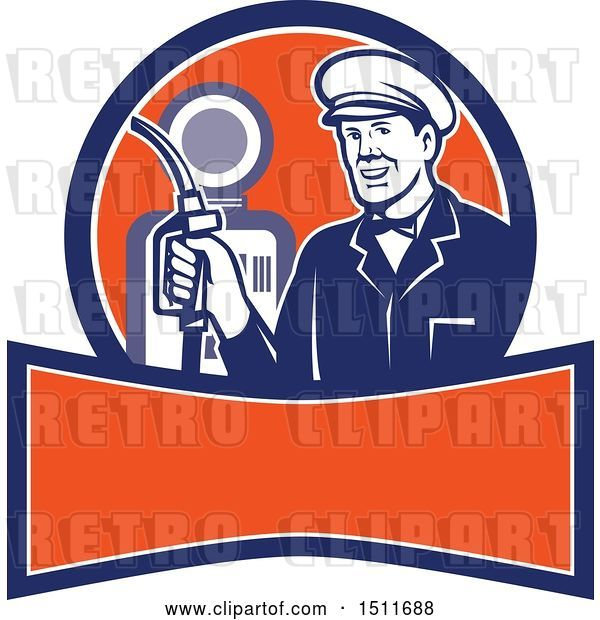 Vector Clip Art of Retro Male Gas Station Attendant Holding a Nozzle over a Banner