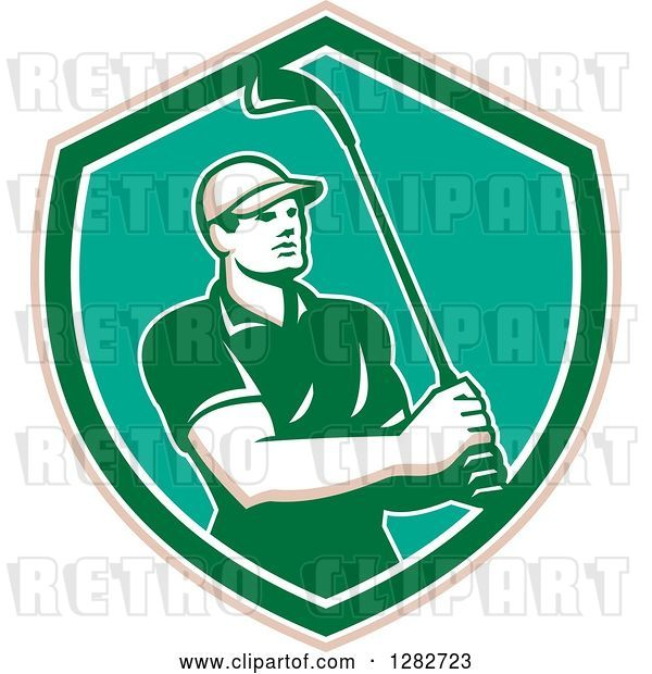 Vector Clip Art of Retro Male Golfer Holding a Club in a Tan White Turquoise and Green Shield