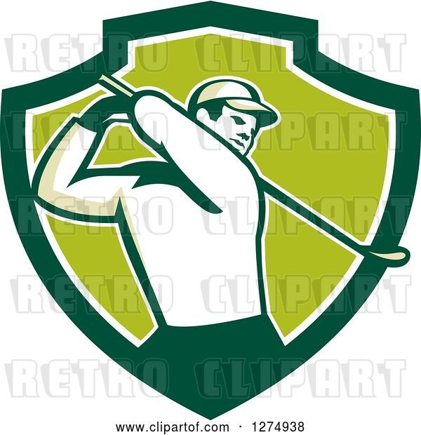 Vector Clip Art of Retro Male Golfer Swinging in a Green and White Shield