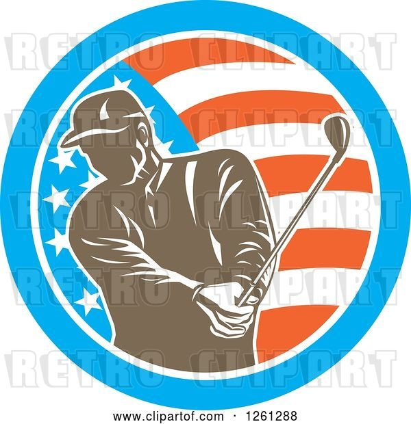 Vector Clip Art of Retro Male Golfer Swinging in an American Flag Circle