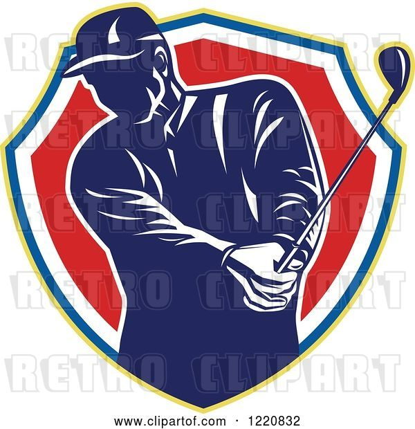 Vector Clip Art of Retro Male Golfer Teeing off in a Shield