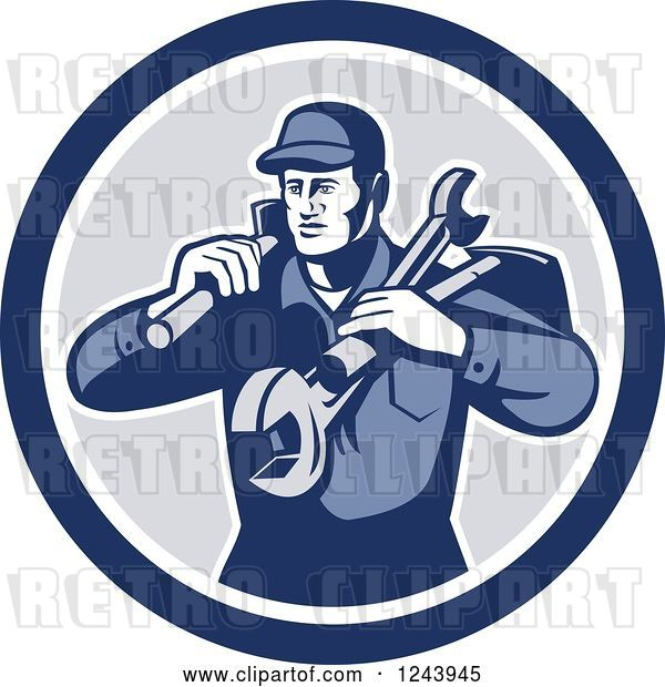 Vector Clip Art of Retro Male Handyman or Mechanic with Tools in a Circle
