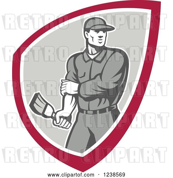 Vector Clip Art of Retro Male House Painter Holding a Brush in a Shield