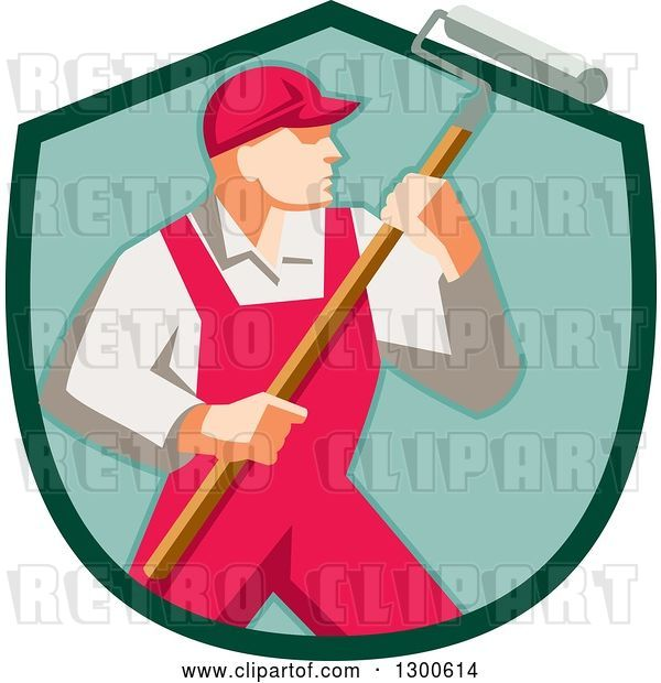 Vector Clip Art of Retro Male House Painter in Red Overalls, Holding a Roller Brush in a Green Shield