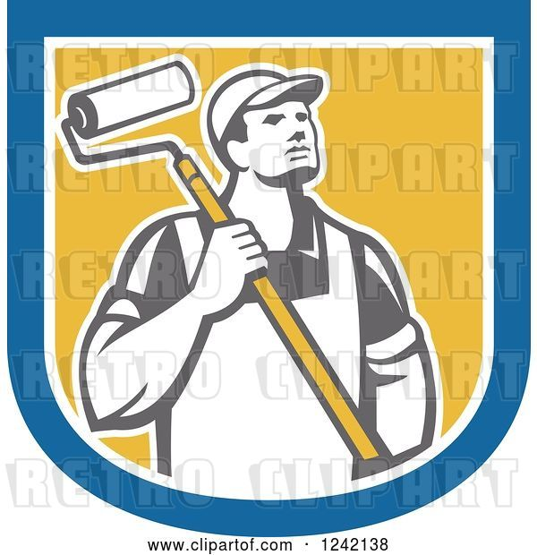 Vector Clip Art of Retro Male House Painter with a Roller Brush in a Shield