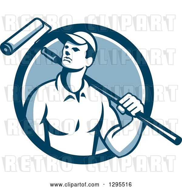Vector Clip Art of Retro Male House Painter with a Roller Brush over His Shoulder in a Blue and White Circle