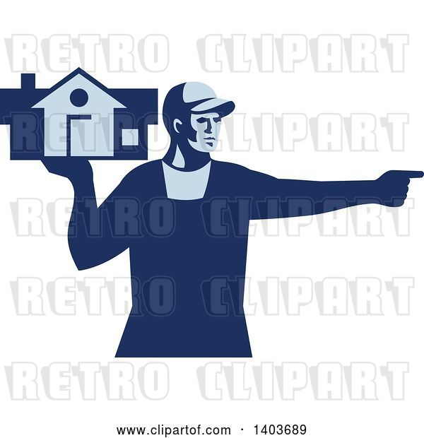 Vector Clip Art of Retro Male House Remover or Mover Holding a Home and Pointing, in Blue Tones