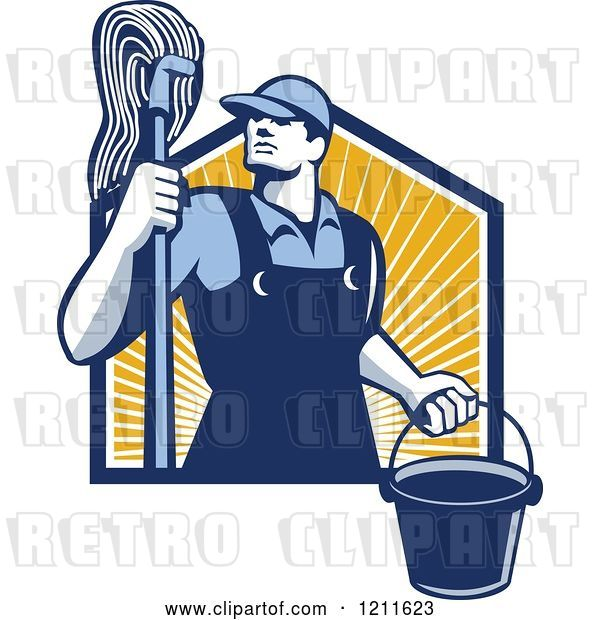 Vector Clip Art of Retro Male Janitor Holding a Mop and Bucket over Sunshine