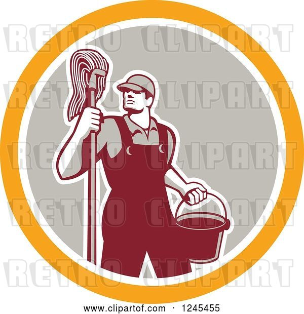 Vector Clip Art of Retro Male Janitor with a Mop and Bucket in a Circle
