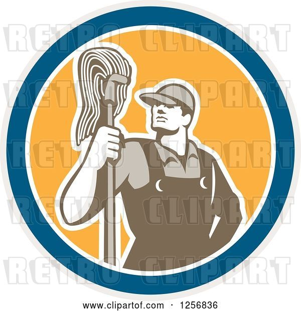 Vector Clip Art of Retro Male Janitor with a Mop in a Blue White and Yellow Circle