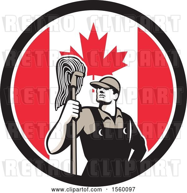 Vector Clip Art of Retro Male Janitor with a Mop in a Canadian Flag Circle