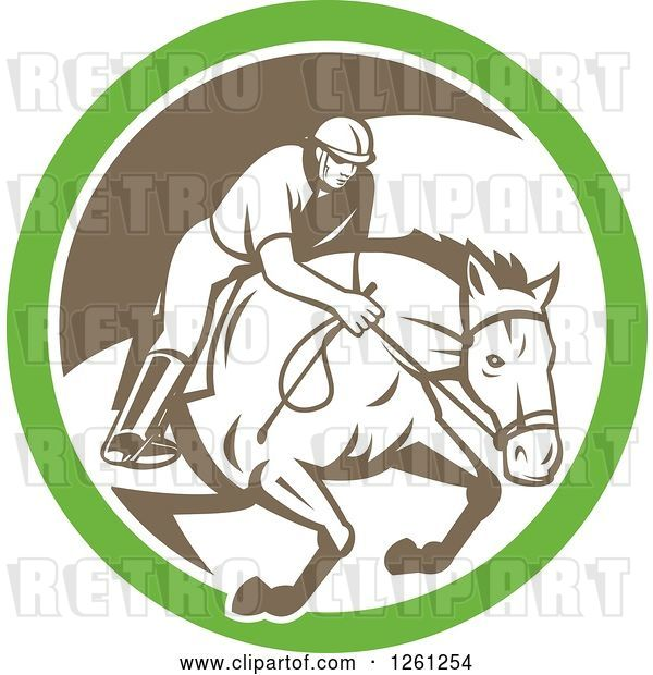 Vector Clip Art of Retro Male Jockey on a Leaping Horse in a Green White and Brown Circle