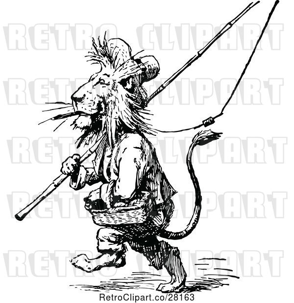Vector Clip Art of Retro Male Lion with Fishing Gear