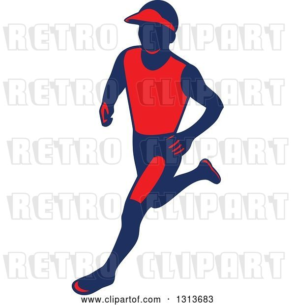 Vector Clip Art of Retro Male Marathon Runner in Red and Navy Blue