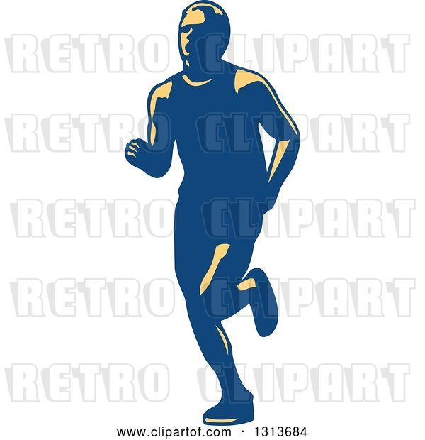 Vector Clip Art of Retro Male Marathon Runner in Yellow and Blue