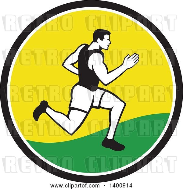Vector Clip Art of Retro Male Marathon Runner or Sprinter in a Black White Yellow and Green Circle